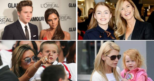 Victoria Beckham with son Brooklyn and Yvonne Connolly with daughter Missy Keating.