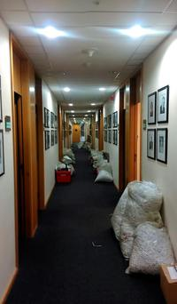 Exclusive picture shows Labour's parliamentary party corridor as members removed their belongings following last week's disastrous General Election