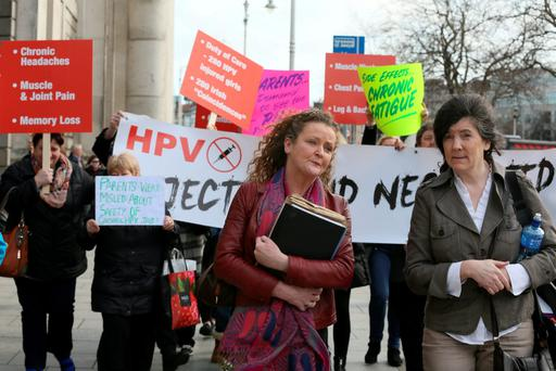 (Left) Fiona Kirby, of Kilbeggan, Co. Westmeath pictured with Catherine Weitbrecht (Right of pic) and supporters outside the Four Courts after her High Court action was adjourned Pic: Collins Courts
