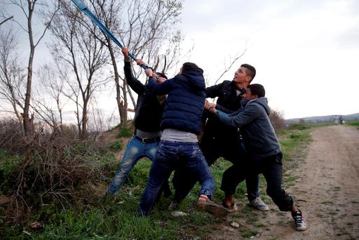 Migrants who are waiting to cross the Greek-Macedonian border, try to bring down a tree near the village of Idomeni, Greece, March 3, 2016. REUTERS/Marko Djurica