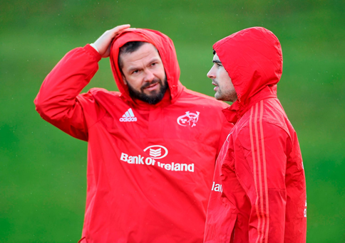 Temporary consultant Andy Farrell with Felix Jones at Munster training. Photo: Sportsfile