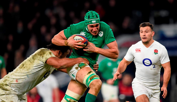 Ultan Dillane on the charge against England after coming on as a replacement to make his first appearance in an Ireland jersey. Photo: Sportsfile