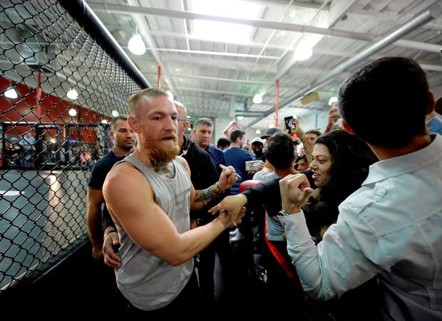 Conor McGregor meets supporters ahead of his fight against Nate Diaz. Photo: Getty