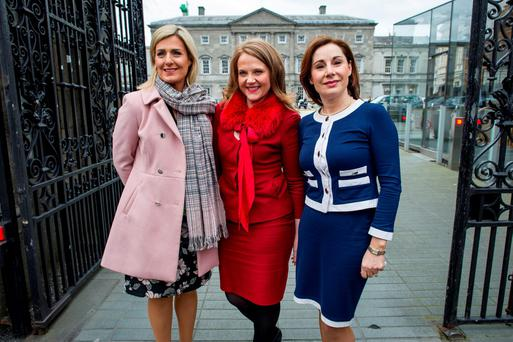 Fine Gael TD Maria Bailey, Fine Gael Senator Catherine Noone and Fine Gael TD Josepha Madigan outside the Dáil yesterday. Photo: Douglas O'Connor