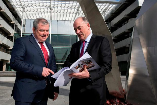 AIB chief executive Bernard Byrne with chief financial officer Mark Bourke at the bank's results yesterday. Photo: Shane O'Neill Photography