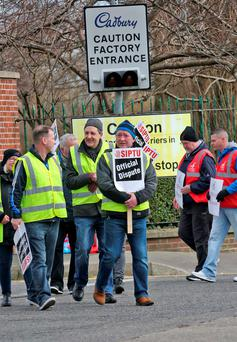Workers from the SIPTU and UNITE trade unions pictured on the picket line at the Cadbury factory in Coolock. Picture: Colin Keegan, Collins Dublin.