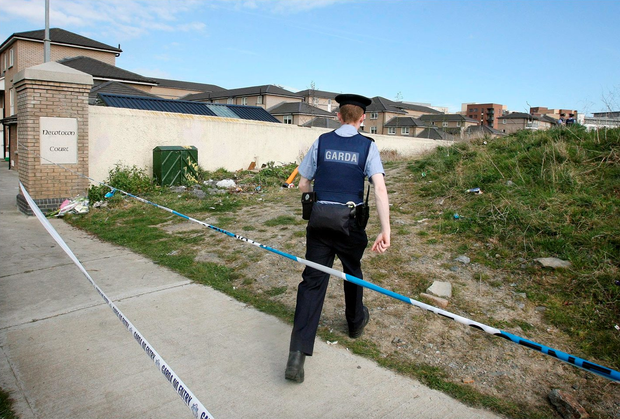 A garda at the wasteland where David Lynch's body was found Photo: Frank Mc Grath