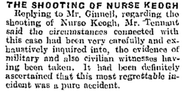 The raising of the subject of the death of Nurse Keogh in Westminster is reported in the Freeman's Journal.