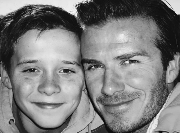 David Beckham has shared a throwback photo of son Brooklyn as he celebrated his 17th birthday in March Photo: David Beckham/Instagram.