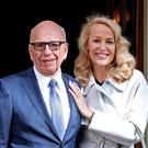 Media mogul Rupert Murdoch and Jerry Hall leave Spencer House, London, after getting married. PRESS ASSOCIATION Photo. Picture date: Friday March 4, 2016. Photo credit should read: Yui Mok/PA Wire