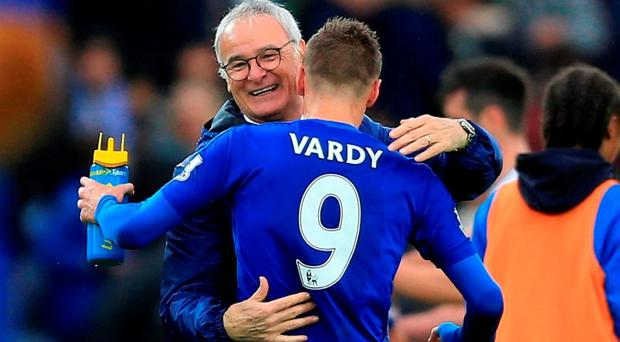 Leicester City manager Claudio Ranieri with Jamie Vardy