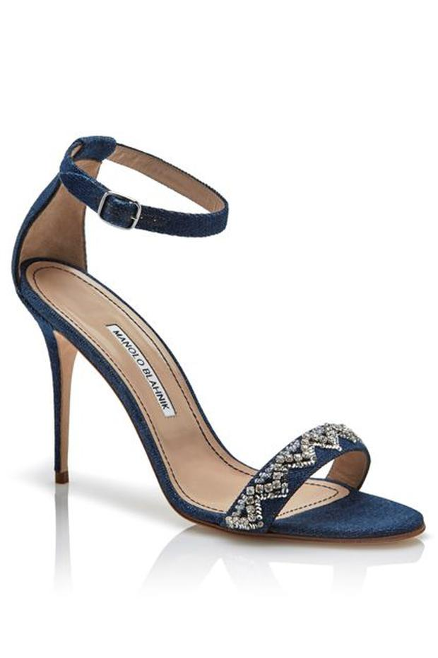 One of the Denim Dessert capsule pieces from Rihanna's shoe collaboration with Manolo Blahnik.