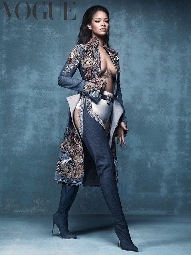 Rihanna sports a pair of her denim Manolo Blahnik boots on the March cover of British Vogue.