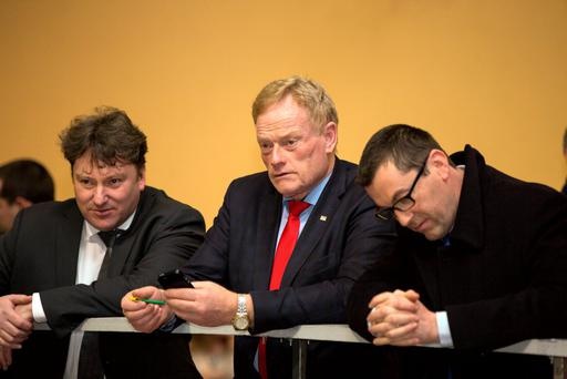 Deputy James Bannon awaits the outcome at the Longford Westmeath Count in Keenagh, Co Longford. Photo: Mark Condren
