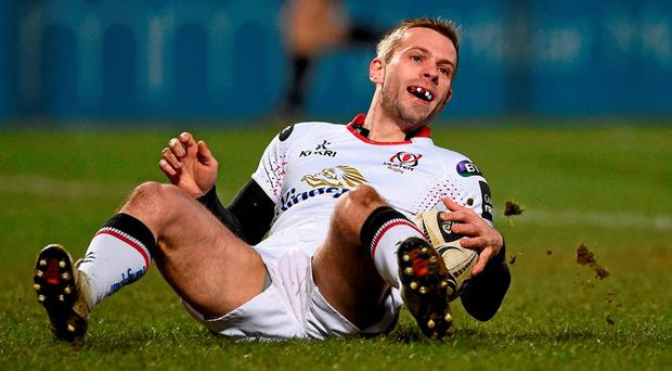 Paul Marshall, Ulster, goes over for his side's fourth try. Guinness PRO12 Round 17, Ulster v Zebre, Kingspan Stadium, Ravenhill Park, Belfast. Picture credit: Oliver McVeigh / SPORTSFILE