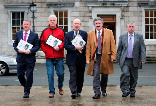 Independent TDs Sean Canney, Finian McGrath, Shane Ross, John Halligan and Kevin 'Boxer' Moran during a press briefing at Leinster House yesterday. Photo: Gareth Chaney