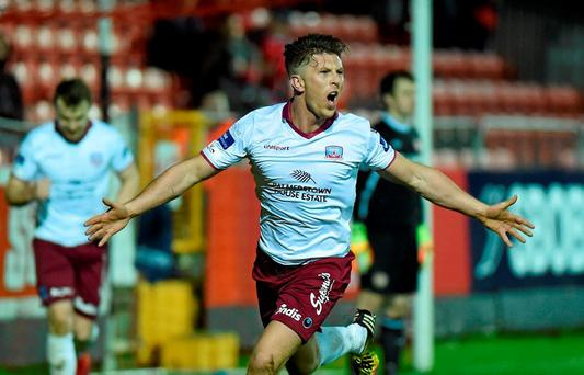 John O'Sullivan, Galway United, celebrates scoring his side's second goal of the game. SSE Airtricity League Premier Division St Patrick's Athletic v Galway United. Richmond Park, Dublin. Picture credit: David Fitzgerald / SPORTSFILE