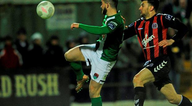 Sean Maguire scores Cork City's first goal against Bohemians at Turner's Cross. Photo: David Maher / Sportsfile