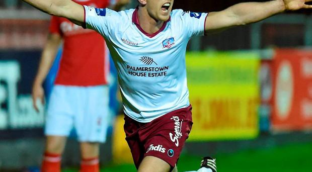 Galway United's John O'Sullivan celebrates scoring his side's second goal of the game. Photo: David Fitzgerald / Sportsfile
