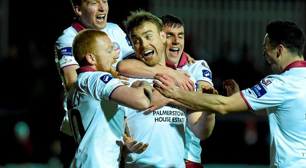 Galway United players celebrate scoring their first goal. Photo: David Fitzgerald / Sportsfile