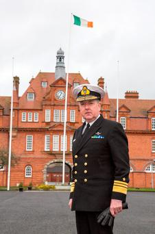 Vice Admiral Mark Mellett, Irish Defence Forces Chief of Staff, at McKee Barracks. Photo: Colin O'Riordan
