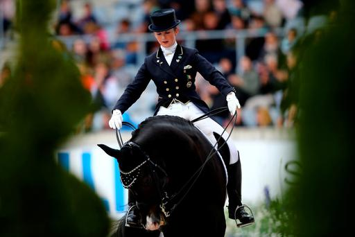 'Reynolds (pictured) already held the Irish Dressage Grand Prix record after posting 73.88 in Rotterdam with the 13-year-old Vancouver K last summer' Photo: Getty