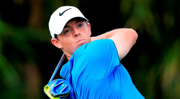 Rory McIlroy hits a drive during his second round in Doral Photo: Getty