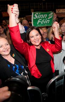 Sinn Fein's Mary Lou McDonald at the RDS after retaining her Dublin Central Dáil seat. Photo: Collins Dublin