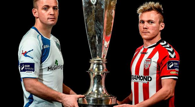 Finn Harps' Kevin McHugh and Derry City's Conor McCormack. Photo: David Maher / Sportsfile