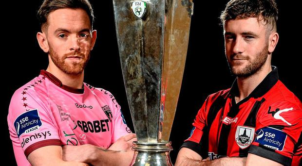 Wexford Youths' Danny Furlong and Longford Town's Lee Duffy. Photo: David Maher / Sportsfile