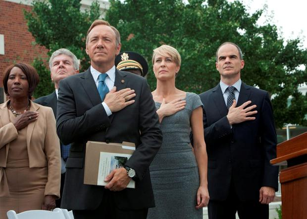 Kevin Spacey as Frank Underwood with his co-stars, Robin Wright and Michael Kelly. The eagerly awaited series 4 premiered on Netflix this week.