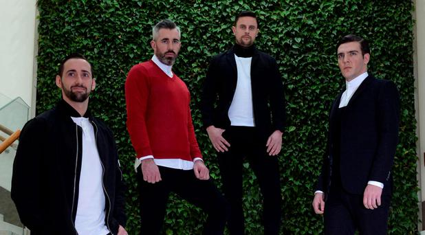 Sean McCarthy, Paddy O'Shea, David Niblock and Gary Talbot exclusively premiered the new Paul Galvin collection 'PUSH' at Dunnes Stores at the Kerry Fashion Week Photo Don MacMonagle