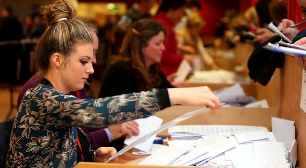 Counting of General Election votes underway in Castlebar Co. Mayo. Picture: Gerry Mooney