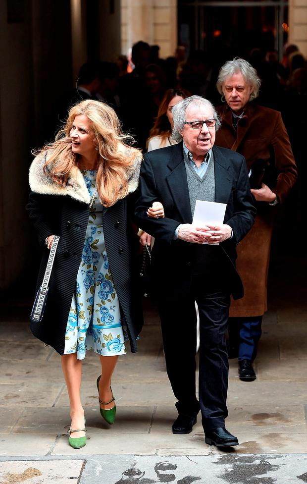 Bill Wyman and Suzanne Wyman leave after the wedding of Jerry Hall to Rupert Murdoch at St Brides Church, Fleet Street, on March 5, 2016 in London, England. (Photo by Ben Pruchnie/Getty Images)