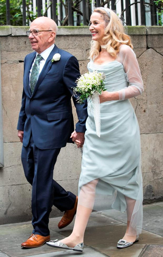 Rupert Murdoch and Jerry Hall seen leaving St Brides Church after their wedding on March 5, 2016 in London, England. (Photo by John Phillips/Getty Images)