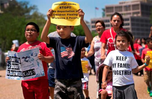 Migrant children in the USA protesting against deportation Credit: Center for Human Rights