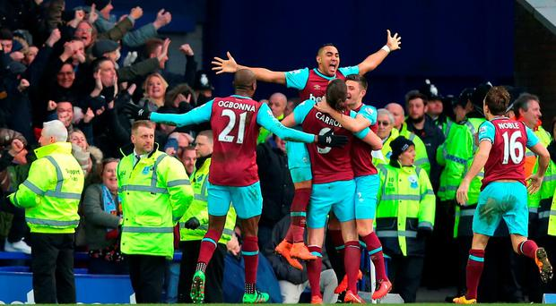 West Ham United's Dimitri Payet celebrates scoring the winning goal during the Barclays Premier League match at Goodison Park