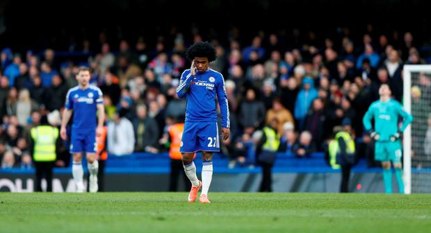 Chelsea's Willian looks dejected