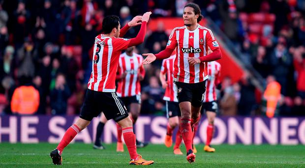 Southampton's Virgil van Dijk (right) celebrates scoring his side's first goal