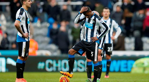 Newcastle's Aleksandar Mitrovic and Georginio Wijnaldum look dejected after Bournemouth scored their third goal