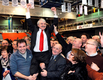 First past the post: Willie O'Dea (Fianna Fail) celebrates with his supporters after being elected on the first count in Limerick during the General Election Photo: Gareth Williams / Press 22