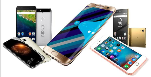 From left, The Huawei GXb; the Nexus 6p; Samsung's Galaxy S7 Edge; Apple's iPhone 6S and the Sony Xperia Z5