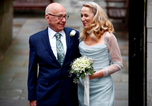 Happy couple: Rupert Murdoch and his bride, Jerry Hall Photo: REUTERS/Peter Nicholls