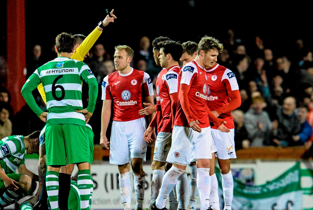 Kieran Sadlier, Sligo Rovers, is sent off