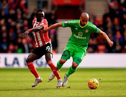 Sunderland's Younes Kaboul and Southampton's Sadio Mane battle for the ball during the Barclays Premier League match at the St Mary's Stadium. Photo: Andrew Matthews/PA