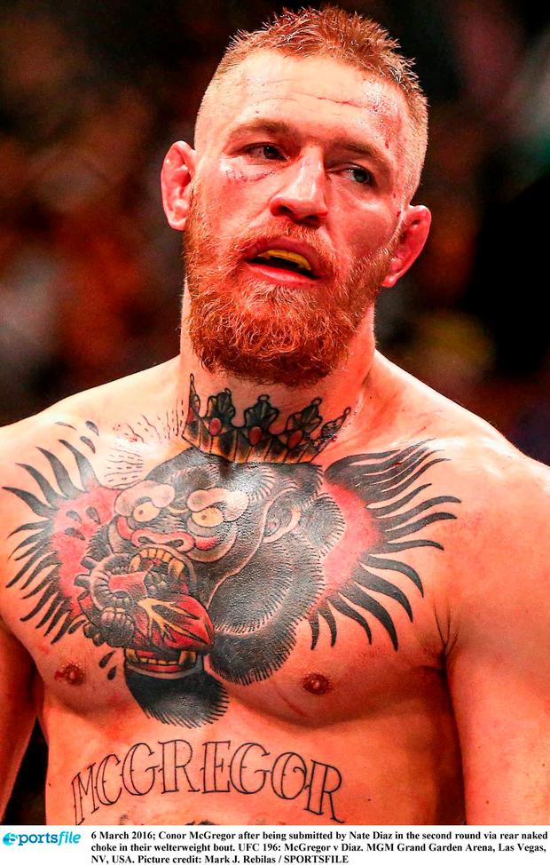 6 March 2016; Conor McGregor after being submitted by Nate Diaz in the second round via rear naked choke in their welterweight bout. UFC 196: McGregor v Diaz. MGM Grand Garden Arena, Las Vegas, NV, USA. Picture credit: Mark J. Rebilas / SPORTSFILE