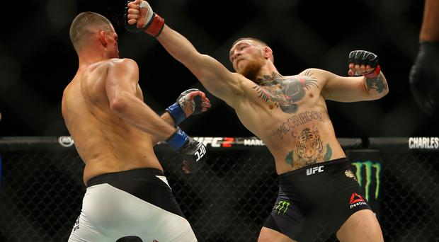 Conor McGregor off target with this punch against Nate Diaz