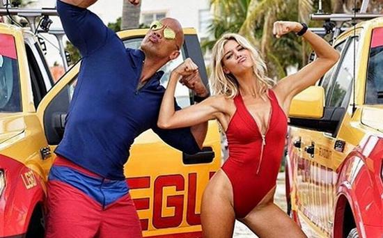 Kelly Rohrbach and The Rock on the set of the Baywatch movie. Picture: Instagram