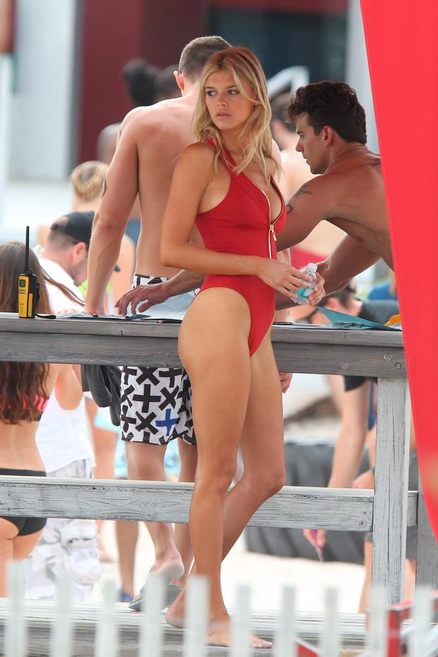 Sports Illustrated model Kelly Rohrbach filming Baywatch in Miami Beach. Picture: Splash News