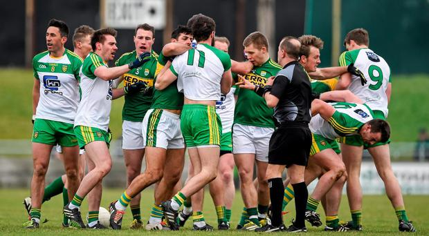 Players from both sides get involved in an altercation during the first half. Picture credit: Brendan Moran / SPORTSFILE